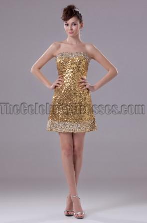 Gold Mini Sequins Strapless Party Cocktail Dresses