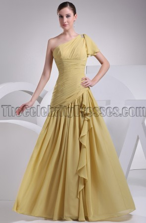 Gold One Shoulder Chiffon Prom Gown Bridesmaid Dresses