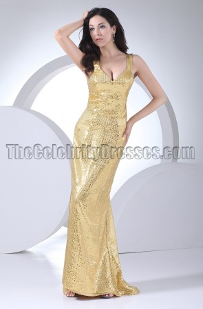 Discount Gold Sequined Evening Dress Prom Gown