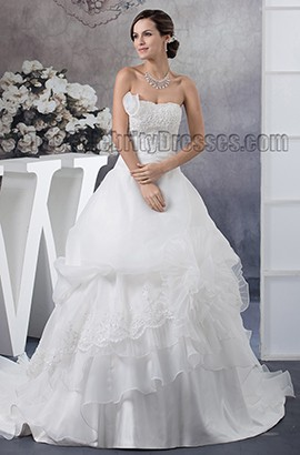 Gorgeous A-Line Beaded Strapless Chapel Train Wedding Dresses