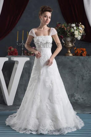 Gorgeous A-Line Cap Sleeves Lace Bridal Gown Wedding Dress