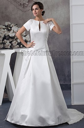 Gorgeous Backless A-Line Sweep/ Brush Train Wedding Dresses