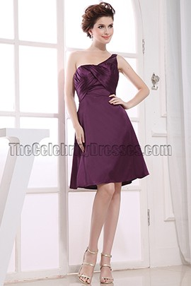 Gorgeous Grape One Shoulder Cocktail Dress Bridesmaid Dresses