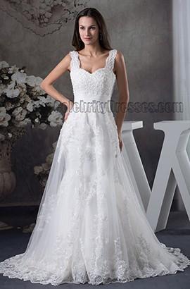 Gorgeous Lace Sleeveless A-Line Chapel Train Wedding Dress