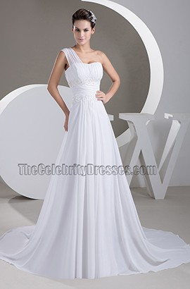 Gorgeous One Shoulder Chapel Train Chiffon Wedding Dresses