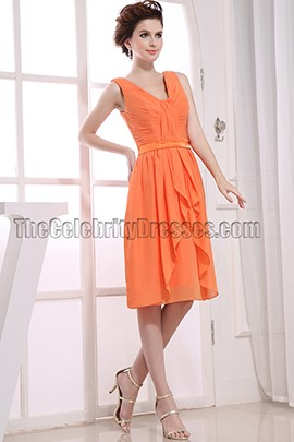 Orange Chiffon Knee Length Cocktail Dress Party Dresses