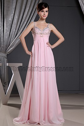 Pink Beaded A-line Prom Dress Evening Formal Dresses