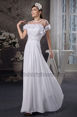 Gorgeous Sheath/Column Floor Length Chiffon Wedding Dresses