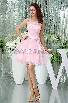 Gorgeous Short Pink Strapless Organza Party Homecoming Dresses
