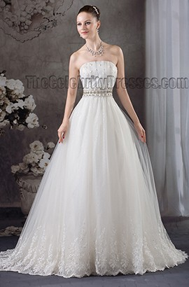 Gorgeous Strapless A-Line Beaded Wedding Dresses