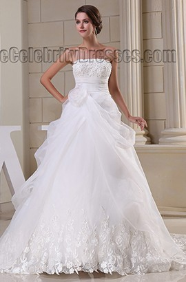 Gorgeous Strapless A-Line Chapel Train Embroidered Wedding Dress