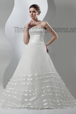 Gorgeous Strapless A-Line Chapel Train Lace Up Wedding Dress