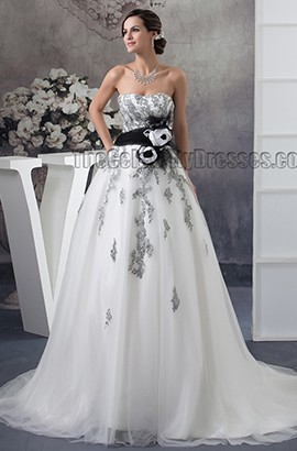 Gorgeous Strapless A-Line Embroidered Chapel Train Wedding Dresses