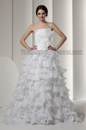 Gorgeous Strapless A-Line Ruffles Wedding Dresses