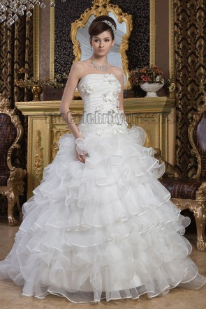 Gorgeous Strapless Ball Gown Sweep/Brush Train Wedding Dresses