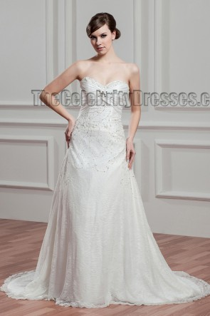 Gorgeous Strapless Beaded Sweetheart A-Line Wedding Dresses