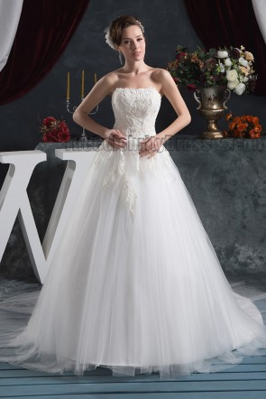 Gorgeous Strapless Embroidered A-Line Chapel Train Wedding Dress
