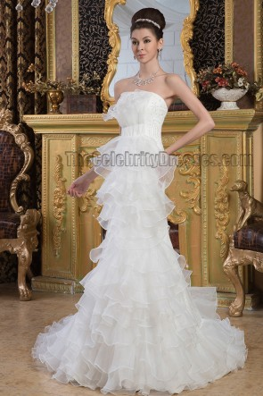 Gorgeous Strapless Organza Beaded Chapel Train Wedding Dresses