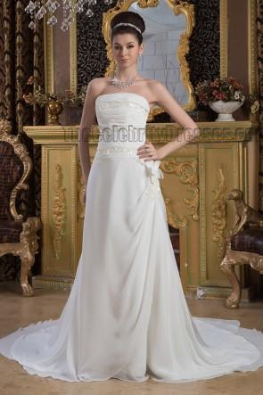 Gorgeous Strapless Sequins A-Line Chapel Train Wedding Dresses