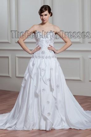 Gorgeous Strapless Sweep/Brush Train Wedding Dress With Beading