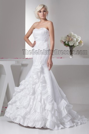 Gorgeous Sweetheart Strapless Ruffles Mermaid Wedding Dresses
