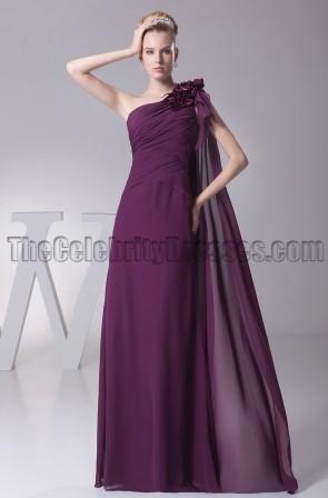 Grape One Shoulder Bridesmaid Prom Evening Dresses