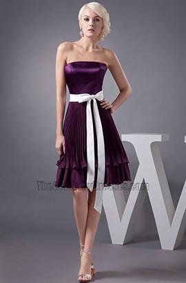 Grape Strapless A-Line Short Bridesmaid Cocktail Dresses