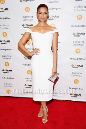 Gugu Mbatha-Raw White Cocktail Dress 2014 Gotham Independent Film Awards TCD5983