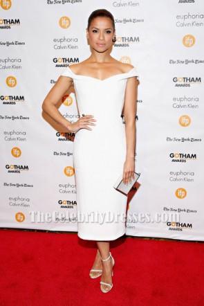 Gugu Mbatha-Raw White Cocktail Dress 2014 Gotham Independent Film Awards TCD5983