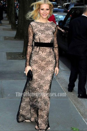 Gwyneth Paltrow Inspired Black Lace Long Sleeve Formal Evening Dress TCDBF051