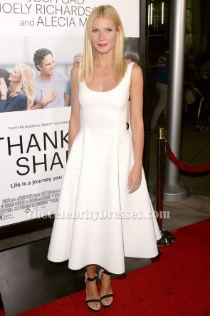 "Gwyneth Paltrow White Cocktail Dress ""Thanks For Sharing"" Hollywood Premiere TCD6427"