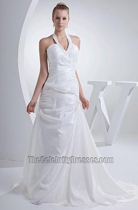 Halter A-Line V-Neck Taffeta Chapel Train Wedding Dress