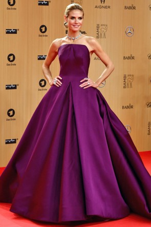 Heidi Klum Grape Formal Dress 2015 Bambi Awards Red Carpet TCD6416
