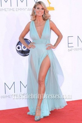 Heidi Klum Blue Chiffon Long Prom Dress 2012 Emmy Awards