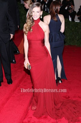 Hilary Swank Burgundy Halter Prom Dress Met Gala 2012 Red Carpet Gown
