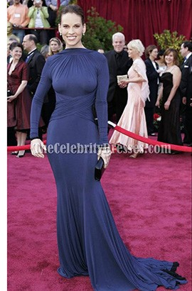 Hilary Swank Sexy Open Back Formal Dress Prom Gown Oscars 2005