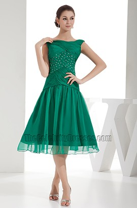 Hunter Chiffon Tea-Length A-Line Cocktail Graduation Dress