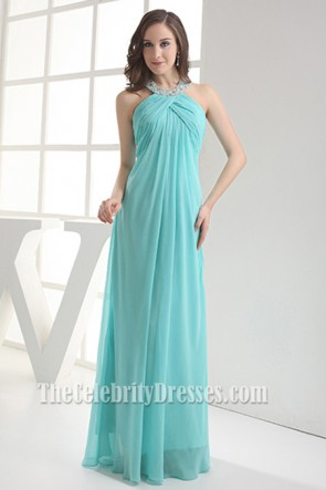 Ice Blue Chiffon Halter Prom Dresses Evening Gowns