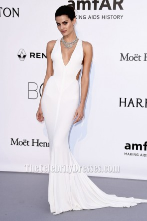 Isabeli Fontana AmfAR's 23rd Cinema Against AIDS Gala 2016 White Evening Dress TCD6679