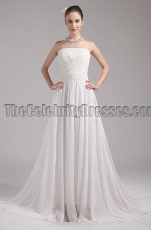 Elgent Ivory Chiffon Strapless Bridal Gown Wedding Dress