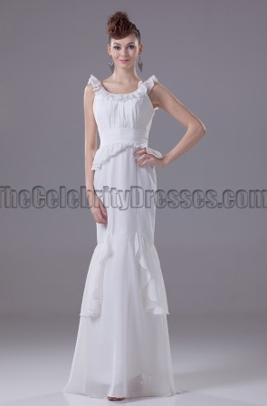 Ivory Mermaid Chiffon Floor Length Prom Evening Dresses