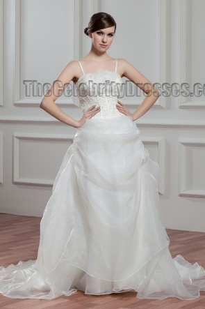 Ivory Spaghetti Straps Beaded Organza Wedding Dress