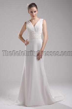 New Style Ivory V-Neck Informal Wedding Dress Evening Gown