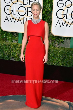 Jennifer Lawrence Golden Globes 2016 Red Carpet Dress Celebrity Gowns TCD6499
