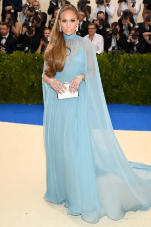 Jennifer Lopez Caped Blue Evening Dress 2017 Met Gala TCD7223