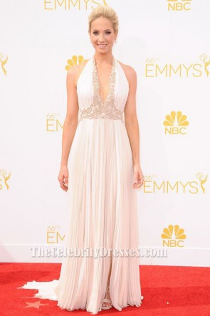 Joanne Froggatt Ivory Halter Evening Dress 2014 Emmy Awards Red Carpet TCD6316