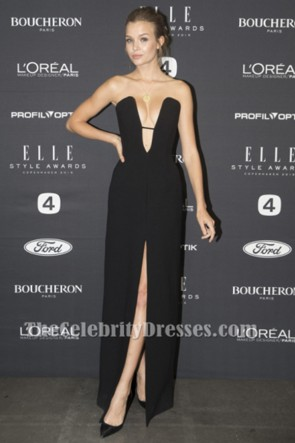 Josephine Skriver Sexy Black Evening Gown Elle Denmark Style Awards 2015 Formal Dress TCD6179
