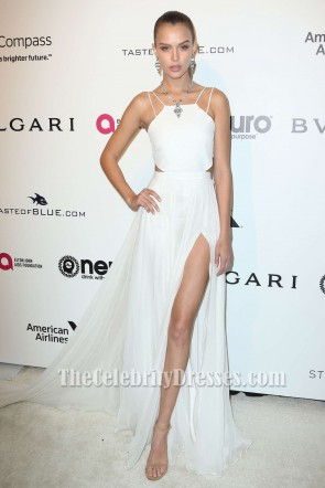 Josephine Skriver White Evening Prom Dress Elton John AIDS Foundation TCD7169