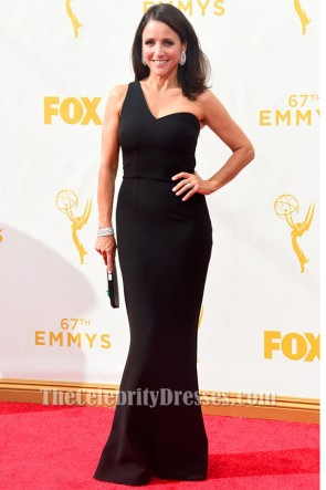 Julia Louis-Dreyfus Black One Shoulder Formal Dress 2015 Emmy Red Carpet TCD6346