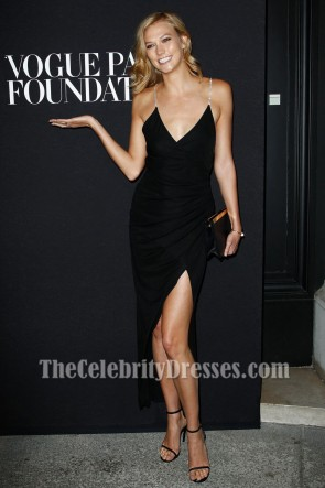 Karlie Kloss Black Backless Evening Dress 2014 Vogue Foundation Gala TCD6882